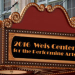 "Graphic of burgundy and gold theater marquee with gold and white lights displaying gold text on black background: Text: ""2016 Weis Center for the Performing Arts"""