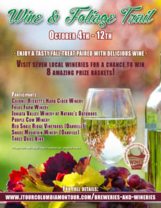 Wine & Foliage Trail Poster October 4-10 2019 White wine glass and grapes at bottom of poster
