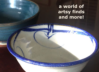 "close up of two ceramic blue bowls - quote ""a world of artsy finds and more"""