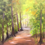 Painting of allee of green trees lining brown dirt path toward clearing with sunlight in distance