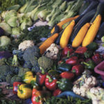 large vegetable display of red cabbage, broccoli, yellow squash, red & green bell peppers, cauliflower, celery, cherry tomatoes