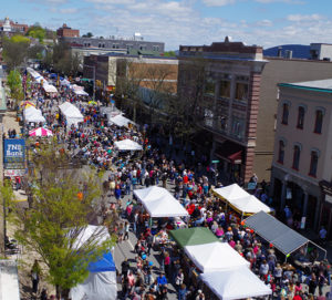 Crowds & white tents on main street at Bloomsburg Renaissance Jamboree