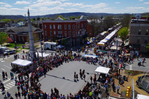 BloomsburgPA overhead view of Renaissance Jamboree with performers in center area, crowds & tents along street