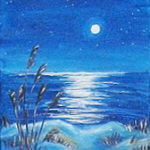 Painting of blue sea and starry sky with moonlight on water and shore in foreground