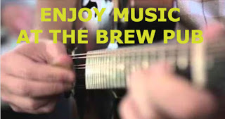 "quote ""enjoy music at the brew pub"" - background is close up of guitarist strumming"