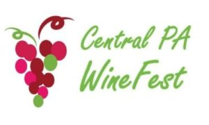 drawing of red purple & green grape cluster text: Central PA Wine Fest