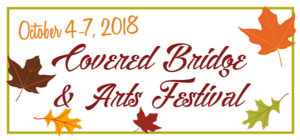 October 4-7, 2018 Covered Bridge & Arts Festival surrounds by drawings of orange, yellow, pale green and brown leaves