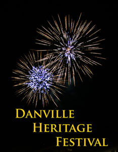 Two sunburst fireworks with blue white centers and gold streamers against night sky Danville Heritage Festival