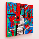 music themed art work with red violin blue banjo piano keys and more musical instruments