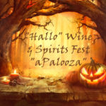 Drawing of arching scary trees with lighted orange jack in right corner Text: Hallowine & spirits festaPaloosa