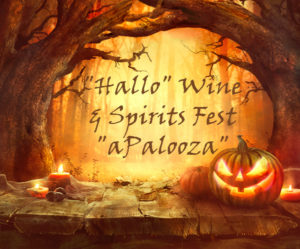 Hallo wine & spirits fest aPaloosa with scary trees and jack o lantern surrounding text