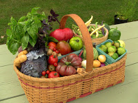 oval woven wicker basket with handle, red trim holding lettuce, tomatoes, eggs, etc. on green wooden plank table