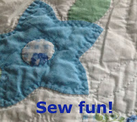 "quote ""sew fun"" - background of quilted star"