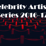 Highlighted rows of red theater seats in the dark Text: Celebrity Artists Series 2016-17