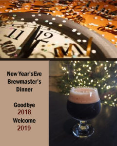 Collage of three images clock striking midnight glass of beer on bar with Christmas tree behind and text Goodbye 2018 Welcome 2019