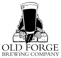 black and white logo for Old Forge Brewing Company showing silhouette of glass of beer with head on brick base with leaves and berries