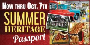 Collage or red & blue trucks, white house with lawn, carousel horse Text - now thru Oct. 7th Summer Heritage Passport
