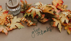 Orange and yellow leaves and votive lantern with handle - GIVE THANKS!