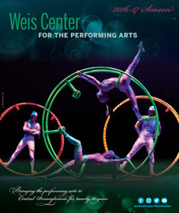 Weis Center for the Performing Arts 4 acrobats performing in red, yellow, green circles