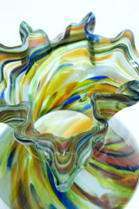 multicolor blown glass vase