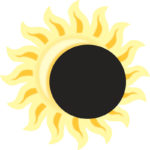 drawing of yellow sun with yellow and gold rays, black disk in front representing eclipse