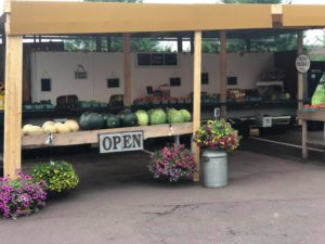 covered farm stand with white and green melons, tomatoes, flowers, open sign