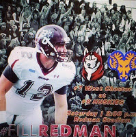 poster image of Fill Redman, Bloomsburg Football player in preparation for game against West Chester