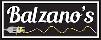 Balzano's in white text  on black background with tip of fork and strand of curving spaghetti