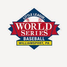 Diamond shaped red, blue, yellow, white logo: Little League World Series Baseball Williamsport PA