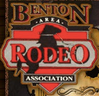 logo Benton Area Rodeo Association - red with horse bucking in background