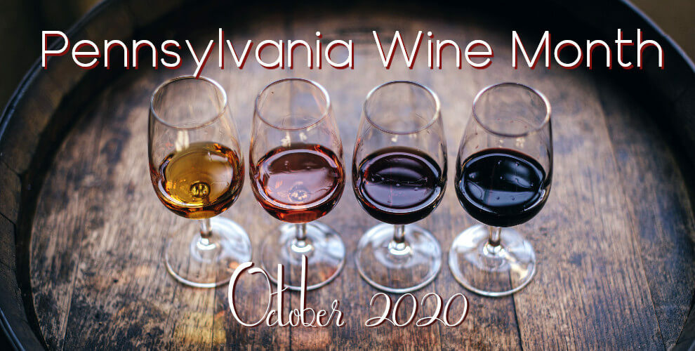 Four glasses of wine on a barrel, with tetx: Pennsylvania Wine Month - October 2020