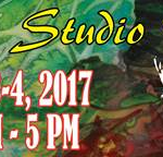 Poster with Susquehanna River Arts logo on background painting of green leaves Text: Open Studio Tour June 3-4 2017 11 am - 5 pm