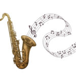 drawing of brass saxophone with musical notes on staff flowing out of horn
