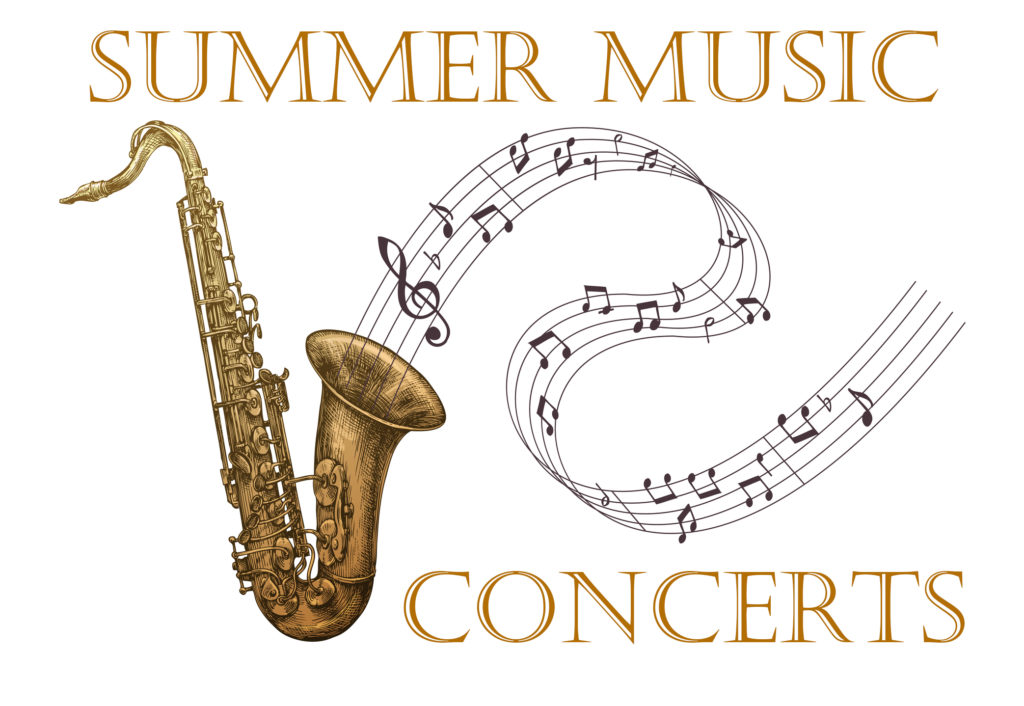 drawing of brass saxophone with musical notes on staff flowing out of horn text: Summer concert series
