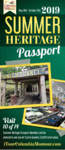 Green brochure cover for 2019 Summer Heritage Passport with pictures of Pioneer Tuneel and cars