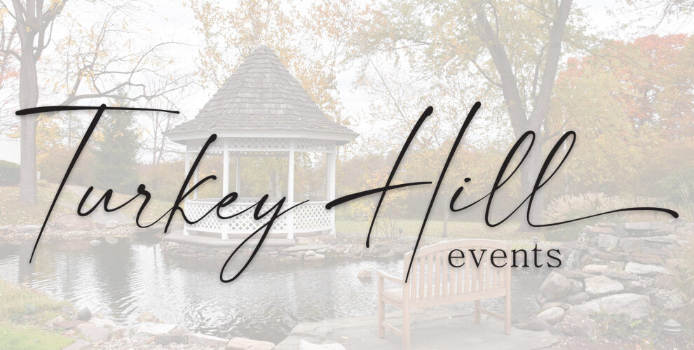 Turkey Hill Events Logo with gazbo ghosted in background