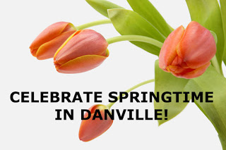 "quote ""celebrate springtime in Danville"" - orange tulips in background"