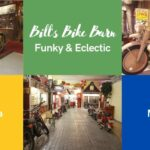 Collage with items from Bill's Bike Barn, like vintage motorcyles and American collectibles