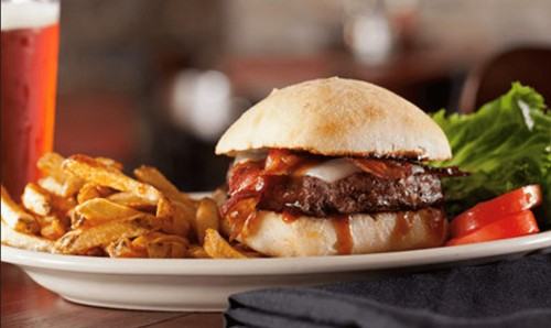 Closeup of juicy burger with fries