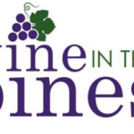 Poster with graphic of purple grapes & green leaves on white background with purple, green, black text Text: Wine in the Pines June 17, 2017 noon-5 pm Hess Recreation Area in Danville